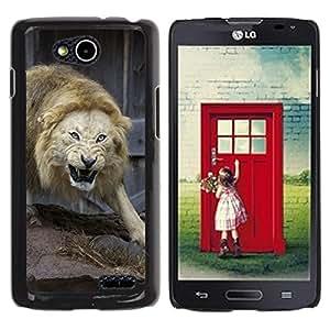 Paccase / SLIM PC / Aliminium Casa Carcasa Funda Case Cover para - Angry Fight Lion Nature Animal King - LG OPTIMUS L90 / D415