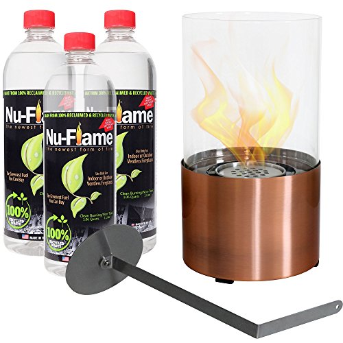 - Sunnydaze Copper Fiammata Ventless Tabletop Bio Ethanol Fireplace with Fuel