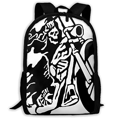 Backpack Flaming Skeleton Biker Riding Zipper School Bookbag Daypack Travel Rucksack Gym Bag For Man Women ()