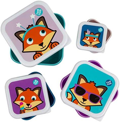 TUM TUM Anidando ollas de merienda para niños, cajas de aperitivos para niños, juego de cajas de aperitivos para niños, BPA gratis (Fox): Amazon.es: Bebé