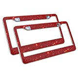 #5: Carfond Handcrafted 1000+ pcs Finest 14 Facets SS20 Premium Crystal Diamond Waterproof Stainless Steel License Plate Frame 2 Pack for Front Rear License Plate,Red