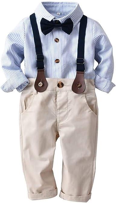 Conjunto de Dos Piezas para Bebe Niño, Conjunto de Camisa de Manga Larga con Pajarita + Pantalones de Tirantes, 1-4 Años #015: Amazon.es: Ropa y accesorios