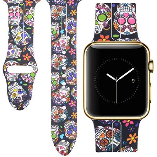 Allbingo Cute Bands for Apple Watch Band 38mm 42mm Women Men (Skeleton Flowers, 38mm S/M)