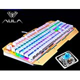 AULA REAPER 104 Key USB Wired Rainbow Backlight Mechanical Gaming Keyboard Kailh Blue Switches