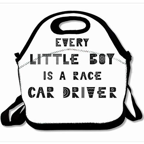 Ahawoso Reusable Insulated Lunch Tote Bag Animal Every Little Boy Is Race Car Driver Cute Nursery Lettering Scandinavian 10X11 Zippered Neoprene School Picnic Gourmet Lunchbox