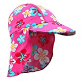 HUANQIUE Baby Toddler Sun Protection Hat UPF 50 + Flap Hat BlueFlower 2-4 T