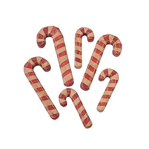 - Fun Express - Wood Carved Candy Canes for Christmas - Home Decor - Ornaments - Traditional - Christmas - 6 Pieces