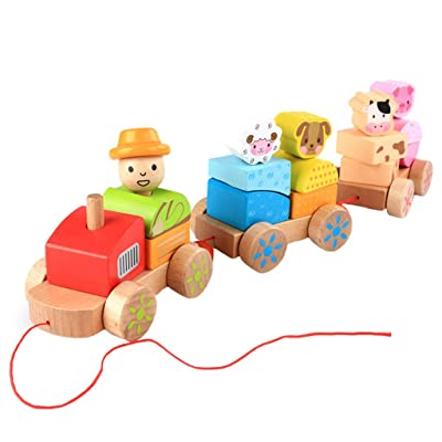 Fineday Wooden Rocking Farm Animals Pull Train Toy Baby Rock Baby Toys Gift for Toddler, Blocks (Multicolor), Shipping from The United States: Garden & Outdoor
