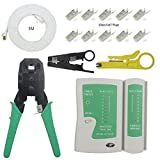 Enterest Ethernet Network Tester kit includs 3-in-1 Modular Crimper,Cable Tester,Cutter,5M Cat7 Network Cable,With 10Pcs CAT7 Modular Plugs