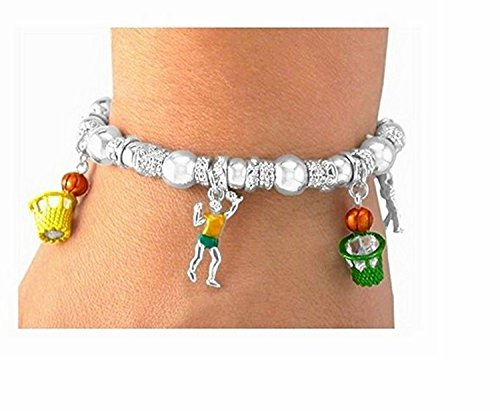 Basketball Multi Color Stretch Charm Bracelet by Lonestar Jewelry