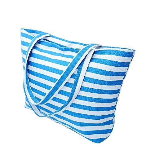Large Canvas Beach Bag - Striped Tote Bag Waterproof Lining - Top Zipper Closure
