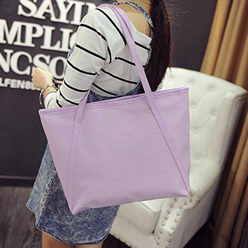 Sling Crossbody Leather Bag Women's Shoulder Handbag Purple PU Large Retro Tote 6RqwqBU5