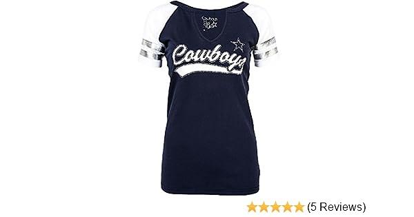 0c7d1528 Amazon.com : Dallas Cowboys Women's Rhinestone Palmer V-neck T-shirt :  Sports & Outdoors