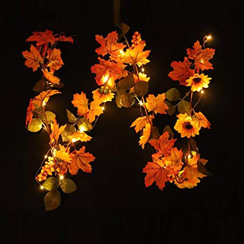LED Light String, Elevin(TM) Halloween 1.8M LED Lighted Fall Autumn Pumpkin Maple Leaves Garland Decor (B)]()