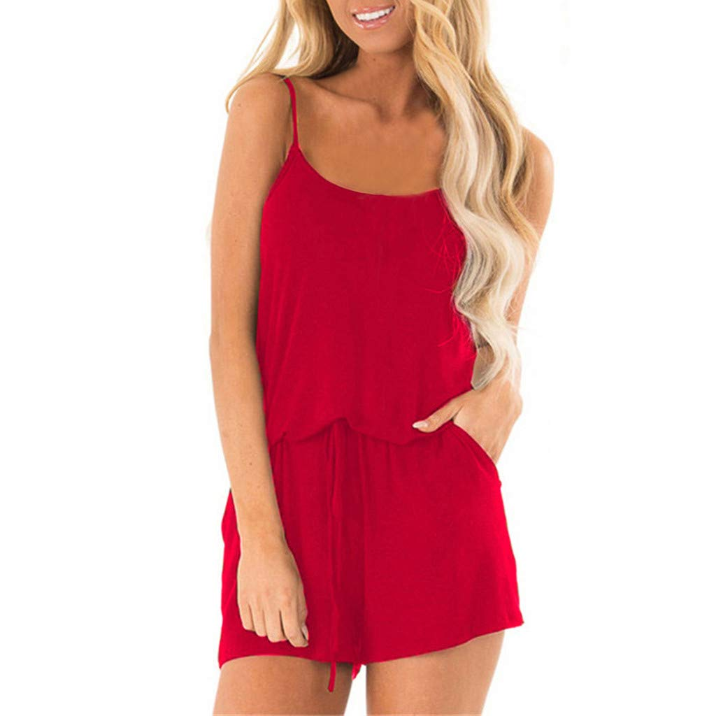 Plain Rompers for Women Sexy High-Waisted Overalls Fashion Casual Playsuits, Loose Adjustable Straped One Piece Outfits(Red, XL) by EINCcm