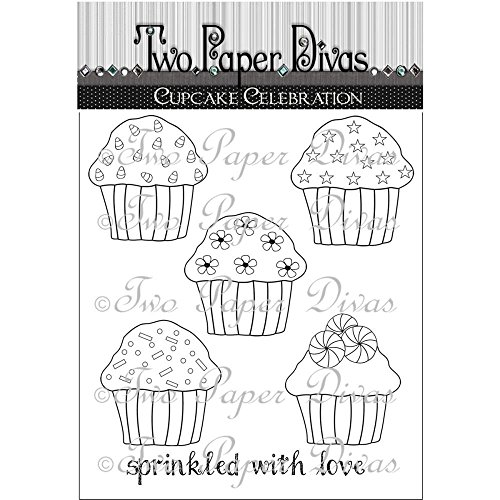 "UPC 682440720610, Two Paper Divas Clear Stamps 9.5""X6.25"" Cupcake Celebration"