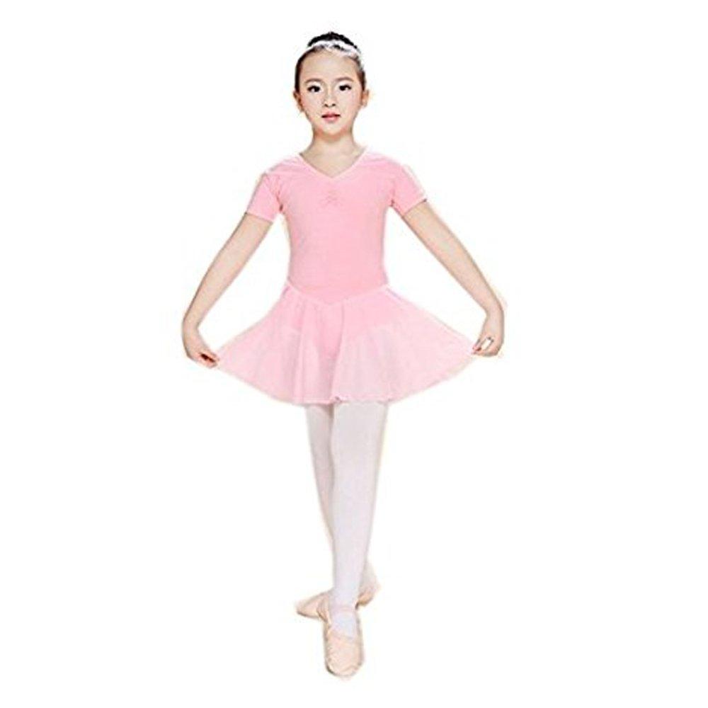 b8b76e243496 Arshiner Girls  Short Sleeve Dance Leotard Ballet Dress