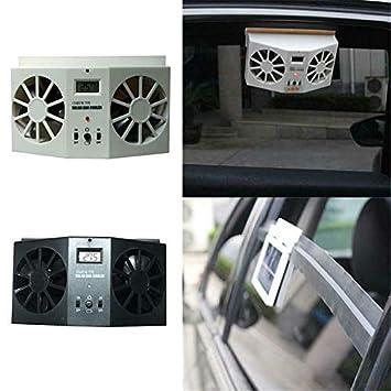 Leobtain Solar Auto Abgasw/ärme Abluftventilator Double Air Outlet Ersatz Einfach zu Bedienen f/ür den Sommer
