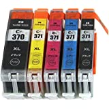 BCI-371XL+370XL/5MP 5本セット (BCI-370XLBK×1 BCI-371XLBK×1 BCI-371XLC×1 BCI-371XLM×1 BCI-371XLY×1) 大容量タイプ キヤノン用互換インクカートリッジ ICチップ付 残量表示機能付 (BCI-370XL BCI-371XL BCI-370 BCI-371 BCI-371+370/5MP BCI-370BK BCI-371BK BCI-371C BCI-371M BCI-371Y BCI370XL BCI371XL BCI370 BCI371)