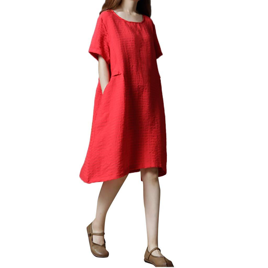 Sagton Linen Dresses for Women O-Neck Short Sleeve Cotton Linen Loose Dress (Red,XL)