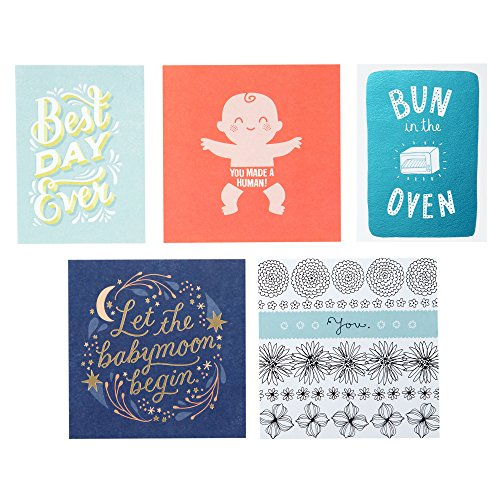 Hallmark Studio Ink Baby Card Assortment, Pregnancy Congratulations/Baby Shower/Pregnancy Support/Welcome Baby/Baby's 1st Birthday Assortment (5 cards with Envelopes) -