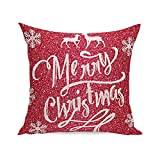 Fxbar Christmas Deer and Snowflakes Shining Printed Throw Pillow Case Super Soft Square Decorative Cushion Pillow Cover, 18x18 (A)