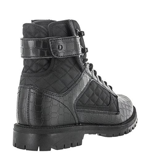 Vlado Footwear Heren Atlas Laarzen Ns Pu Leer & Canvas Hoge Top Laars Zwart