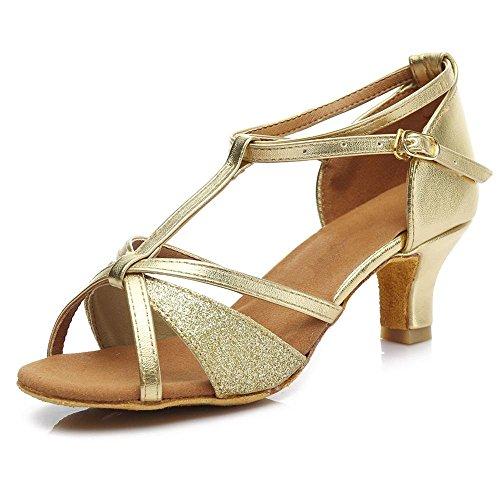 YFF Mädchen Ballroom tango Frauen salsa Latin Dance Schuhe 5 cm und 7 cm Absatz Gold 5cm