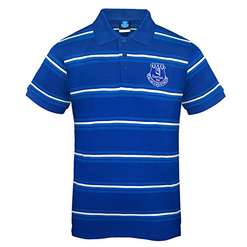 Everton FC Official Soccer Gift Mens Striped Polo Shirt Royal Blue - Shirt Everton Football