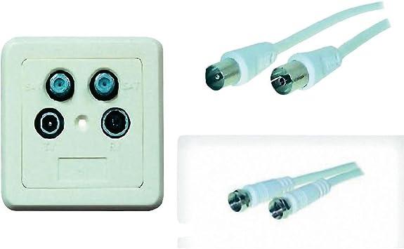 Kit de conexión de enchufe de pared 3 Vías + Cable de antena ...