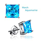 Miraculous Garden Womens White Gold Plated Square Cubic Zirconia Diamond Birthstone Stud Earrings (March-Aquamarine)