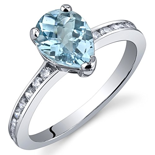 (Swiss Blue Topaz Ring Sterling Silver Rhodium Nickel Finish Pear Shape 1.25 Carats Size 7)