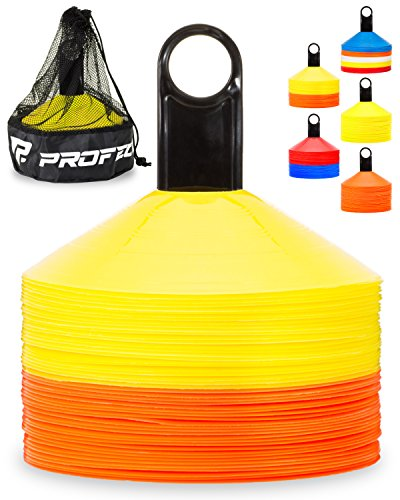 Ball Marker Holder - Pro Disc Cones (Set of 50) - Agility Soccer Cones with Carry Bag and Holder for Training, Football, Kids, Sports, Field Cone Markers - Includes Top 15 Drills eBook (Orange and Yellow)