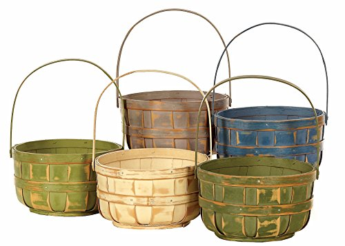 Napco Wood Basket with Handle, Decorative Bushel Style, Color Will Vary, 6 Inch , 6