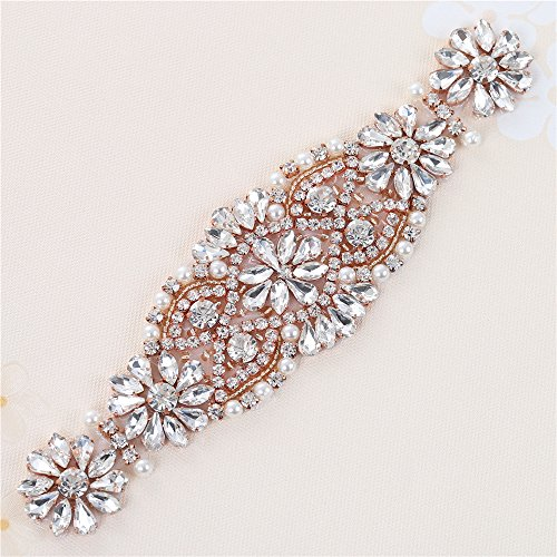 [Rhinestone Applique with Crystals and Pearls for Dress Headpieces Bags(Rose Gold)] (Easy Diy Plus Size Halloween Costumes)