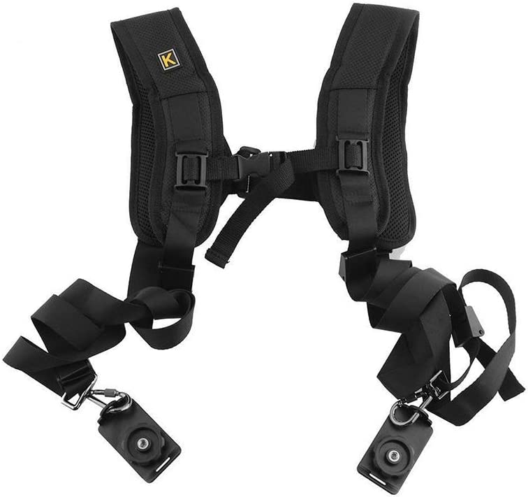 Camera Shoulder Double Strap Harness Quick Release Dual Camera Tether Strap and Safety Tether for DSLR SLR Camera Adjustable Double Shoulder Camera Sling Strap with Decompression Pads