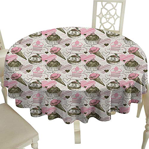 Ice Cream Washable Tablecloth Grunge Style Cupcakes with Murky Heart Love Romance Illustration Dinner Picnic Home Decor D55.11 Inch Dust Pale Pink Army Green]()
