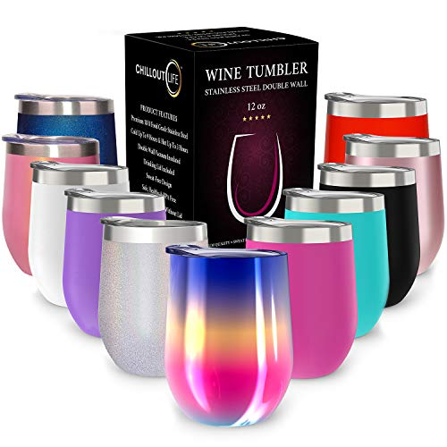 CHILLOUT LIFE Stainless Steel Stemless Wine Glass Tumbler with Lid, 12 oz | Double Wall Vacuum Insulated Travel Tumbler Cup for Coffee, Wine, Cocktails, Ice Cream - Rainbow Multi-Color Wine Tumbler