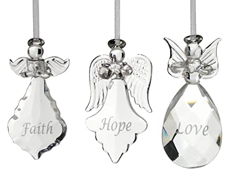 Angel Ornaments For Christmas Tree.Banberry Designs Faith Hope Love Angel Ornaments Set Of 3 Crystal Hanging Angels Faith Hope Love Written On Each Ornament In Silver Angel