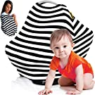 Nursing Cover Breastfeeding Scarf, Baby Car Seat Canopy, Shopping Cart, Stroller, Carseat Stretchy Covers Unisex Girls and Boys | Black/White stripes