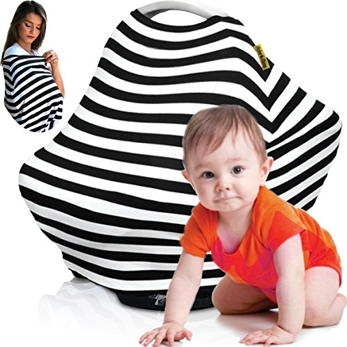 Nursing Cover Breastfeeding Scarf, Baby Car Seat Canopy, Shopping Cart, Stroller, Carseat Stretchy Covers Unisex Girls and Boys (Black/White (Multi Stripe Diaper Cover)