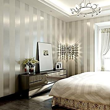 Moderne Minimalistische Vliestapete Wohnzimmer Schlafzimmer TV Hintergrund  Wandtapete Einfache Vertikale Und Horizontale Streifen Tapete, Silber