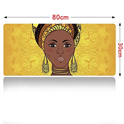 African Woman Mouse pad Tribal Woman Portrait in Turban Ornate Mandala Inspired Round Motif Mouse Pad Large Size 700x300mm Yellow Brown Cocoa - Cocoa 700