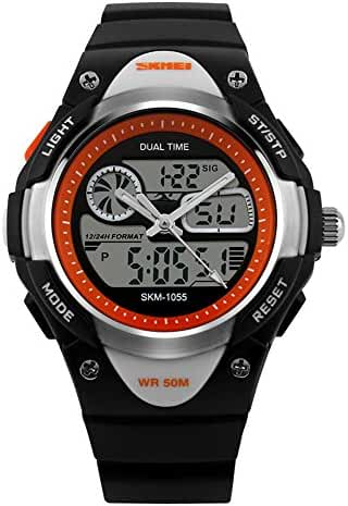 Children Digital 50M Waterproof Alarm Sports Wrist Watch Black