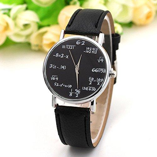 Zantec Fashion Quartz Watch Math Formula Round Dial Casual Wristwatches with PU Leather for Women and Men