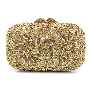 or  Burenqi@ Les Femmes;s Lunettes Sacs Sac de soirée métal Perles Cristal Appliques en détaillant pour événeHommest de Mariage Party All Seasons or argent Rainbow