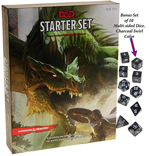 - Deluxe Games and Puzzles Dungeons & Dragons Starter Set _ with Bonus Charcoal Swirl 10 Piece Dice Set _ D&D Starter Set _ Bundle
