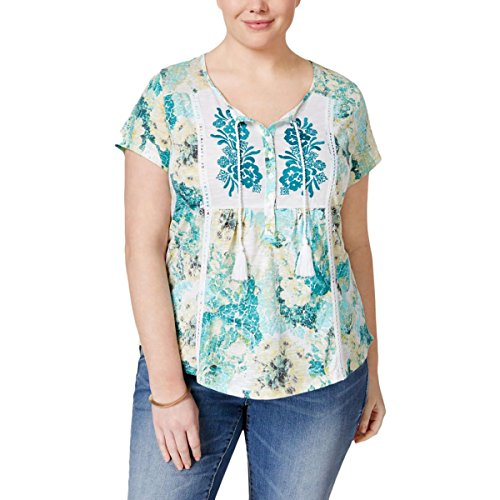 Style & Co. Womens Plus Floral Print Embroidered Blouse Green 2X