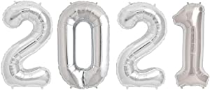 Tellpet 2021 Balloons, 2021 Graduations Balloons Decorations, 2021 Happy New Years Eve Balloons, Large, Silver