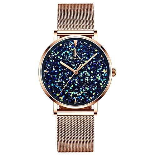 (IK Colouring Women Quartz Watch, Rhinestone Starry Sky Dial Ladies Wrist Watches Mesh Band Watch - Gold)